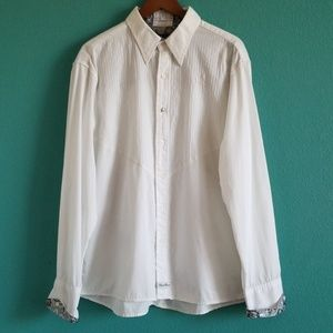 {English Laundry} White Button Down Silver Sleeves